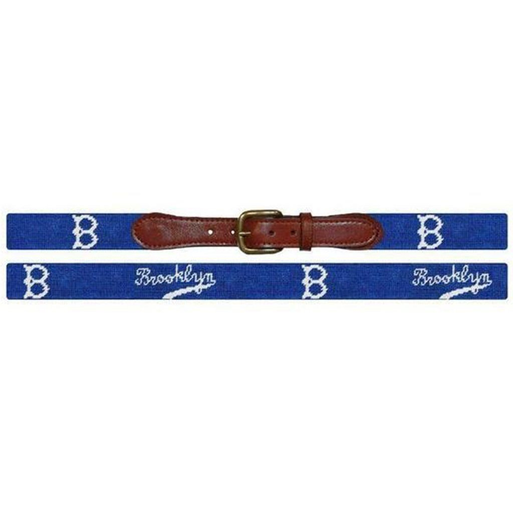 Brooklyn Dodgers Cooperstown Needlepoint Belt in Blue by Smathers /& Branson