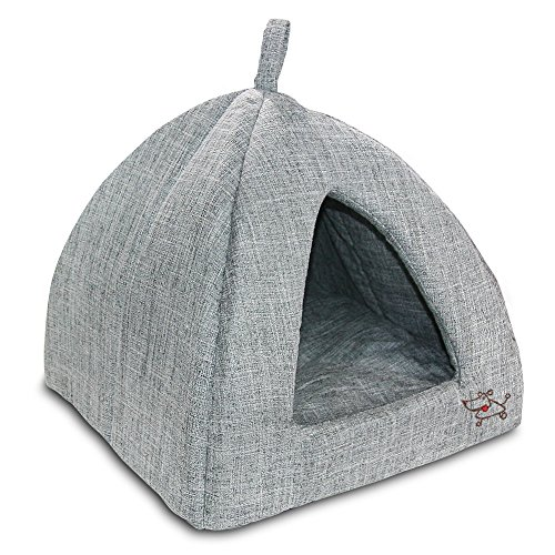 Best Pet Supplies Linen Tent Bed for Pets - Grey, X-Large (Cat Plush House)