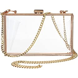 Women's Transparent Clear Purse Clutch Bag Evening Handbags Cross-Body Bag for Women NFL Stadium Approved Acrylic, Chain Strap