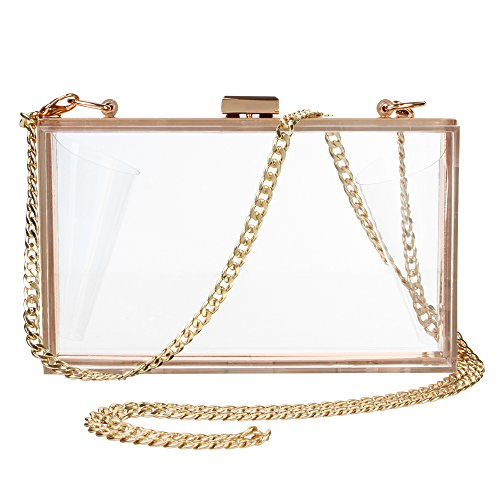Women's Transparent Clear Purse Clutch Bag Evening Handbags Cross-Body Bag for Women NFL Stadium Approved Acrylic, Chain Strap (Fashion Purses)