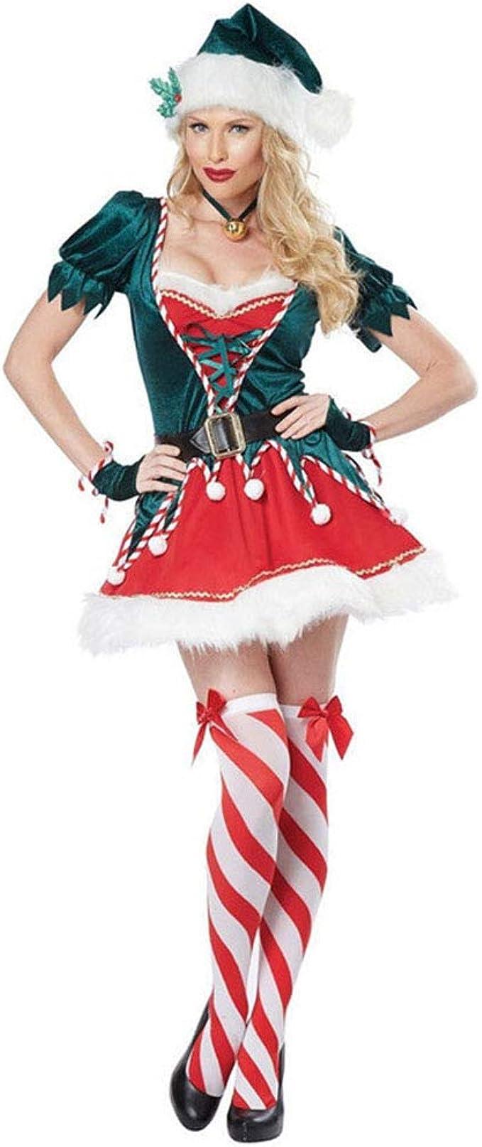 HELEVIA Disfraz de Elfo de Navidad para Mujer de Heelvia, Traje ...