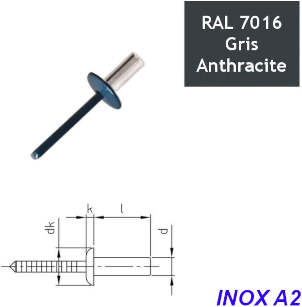 Nieten TP Edelstahl A2 4,8x10 mm RAL 7016 Anthrazitgrau 100 St/ück
