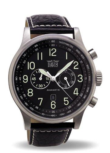 7a9b50b26c2b Davis-0450- Reloj Aviador 48mm - Cronógrafo Sumergible 50M - Correa de Piel  Negra con pespunte  Davis  Amazon.es  Relojes