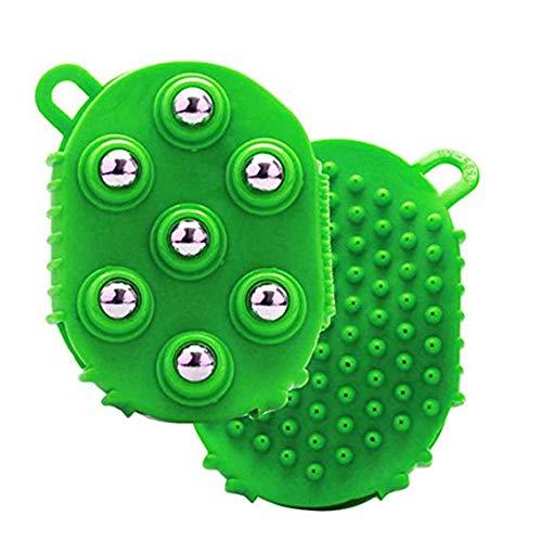 ガチョウ飢饉熱帯の7つの回転金属ボール付きマッサージグローブ、ボディマッサージグローブフルボディマッサージャー,グリーン