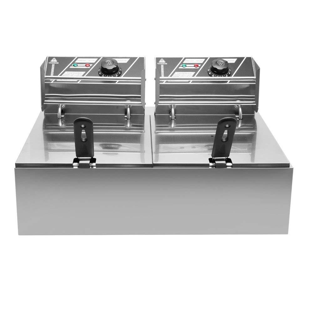 Blackpoolal - Freidora eléctrica doble (2 x 10 L, 2500 W, acero ...