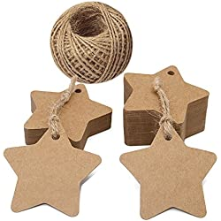 100 PCS Kraft Paper Tags Star Shape Gift Tags with 100 Feet Natural Jute Twine String Idea for Wedding Favor Tags, Party Gift Tags, Price Labels, Luggage Tags (Brown)
