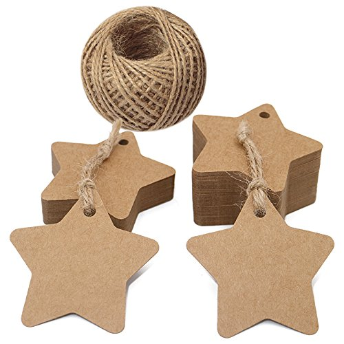 100 PCS Kraft Paper Tags Star Shape Gift Tags with 100 Feet Natural Jute Twine String Idea for Wedding Favor Tags, Party Gift Tags, Price Labels, Luggage Tags (Brown) JIJIA