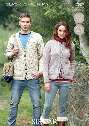 Sirdar Click Chunky Knitting Pattern - 7207 Round Neck and V Neck Cardigans by Sirdar ()