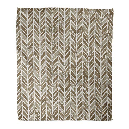 (Golee Throw Blanket Beige Angled Abstract Herringbone Tweed Pattern in Neutral Browns Seamlessly 50x60 Inches Warm Fuzzy Soft Blanket for Bed Sofa)