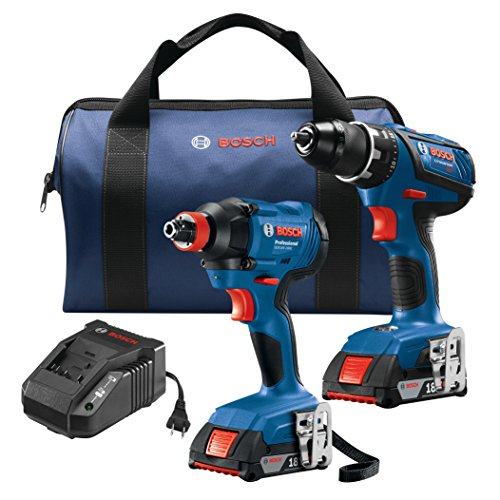 Bosch GXL18V-232B22 18V 2-Tool Kit with 1/2 In. Compact Tough Drill/Driver, 1/4 In. and 1/2 In. Two-In-One Bit/Socket Impact Driver and (2) 2.0 Ah Batteries ()