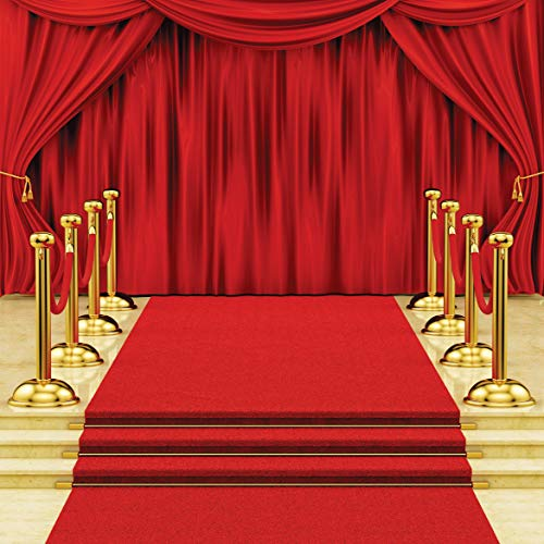 SJOLOON 10x10ft Red Carpet Stairs Star Photography Backdrop Red Curtain Background Hollywood Star Red Carpet Photo Background Vinyl Studio Props -
