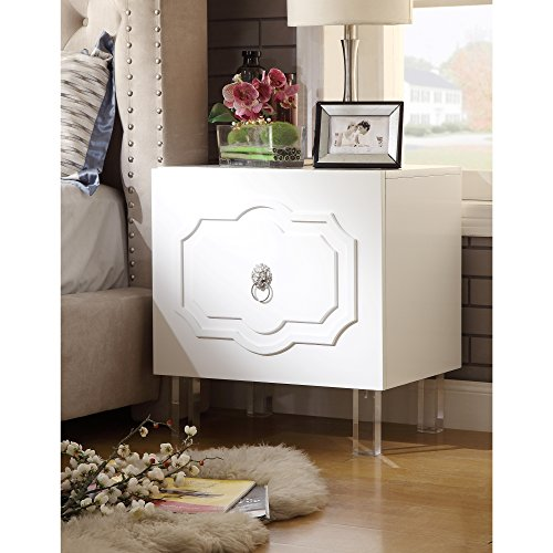 Finish White Glossy Lacquer - Inspired Home Sahara White Glossy Night Stand - Lacquer Finish | Side Table | Acrylic Lucite Legs