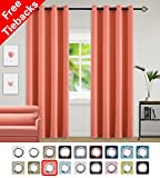 Yakamok Light Blocking Darkening Thermal Insulated Blackout Curtains Solid Grommet Top Window Draperies/Drapes/panels for Girls' Bedroom/Living Room 52×84 Inch Coral Orange 2 Panels For Sale