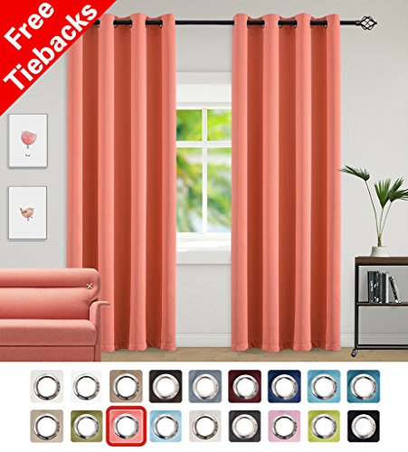 Yakamok Light Blocking Darkening Thermal Insulated Blackout Curtains Solid Grommet Top Window Draperies/Drapes/panels for Bedroom/Living Room 52x84 Inch Coral Orange 2 Panels Coral Db Coral