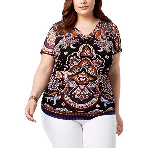INC Womens Plus Double-Layer V-Neck T-Shirt Black 3X