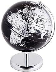 Exerz 30CM Globo Terráqueo - en Inglés - Decoración de escritorio educativa/geográfica/moderna - Con una base de metal - Negro Metálico