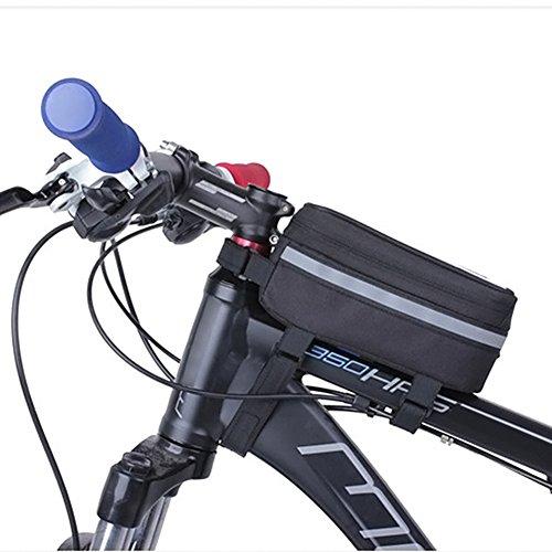 Hrph Bolso de bicicleta Bicicleta de bicicleta marco de teléfonos móviles portador de bolsas bolsa de la caja de accesorios de equitación negro