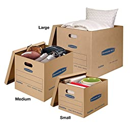 Bankers Box SmoothMove Classic Moving Boxes, Tape-Free Assembly, Medium, 18 x 15 x 14 Inches, 8 Pack (7717201)