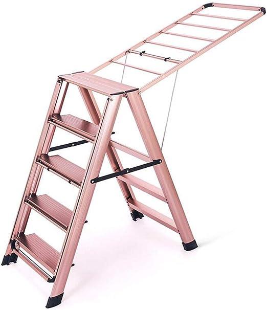 Nai-ladder Hogar Escalera de Aluminio Balcón Interior Estante de Secado Plegable de pie Edredón Colgador de Ropa Escalera de Seguridad Ascendente (Size : 50 * 16 * 110CM): Amazon.es: Hogar