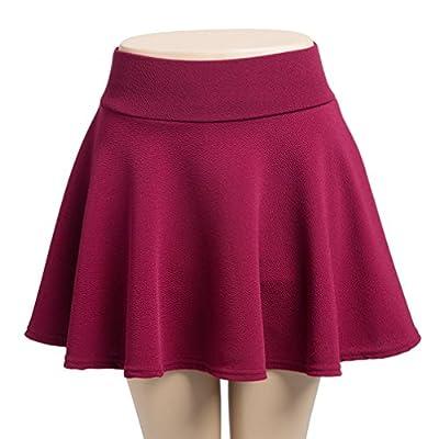 Dolloly Women's Basic Stretchy Versatile Solid Flared Mini Skater Skirt