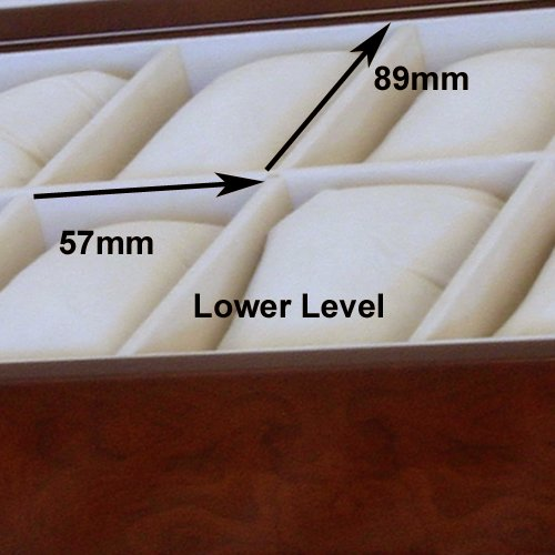 Watch Box for 20 Watches XL Extra Large Compartments Fits 65mm Soft Cushions Clearance (Cherry) by Tech Swiss (Image #3)