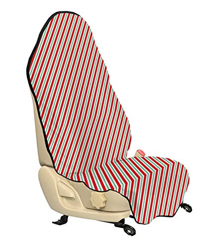 Ambesonne Candy Cane Car Seat Hoody, Bicolor Stripes and Lines Traditional Design Seasonal Pattern, Car and Truck Seat Cover Protector with Nonslip Backing Universal Fit, Red Fern Green White