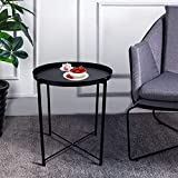Round Metal Side Table - 20'' Tall Reversible Tray Small End Table, Modern Steel Patio/Garden/Sofa/Coffee/Bed/Nesting Tables Nightstand for Living Room Bedroom Decor Indoor Outdoor (Black)