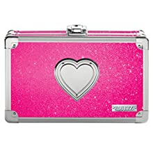 Vaultz Locking Supply Box, 8.5 x 2.5 x 8.5 Inches, Pink Bling with Heart (VZ03708)