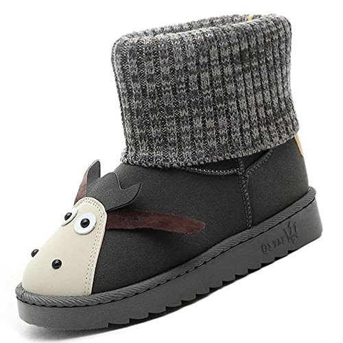 HSXZ Zapatos de Mujer Otoño Invierno PU Confort botas botas de nieve talón puntera redonda plana Mid-Calf botas para Casual Gris negro Gray