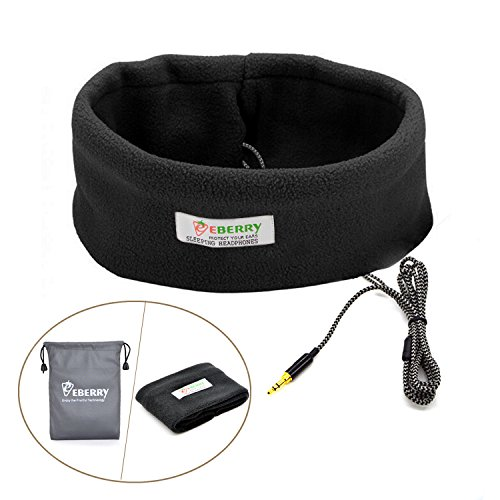 eBerry [Ultra Thin Sleep Headphones + Storage Pouch] Sleeping Headphones Sleep Headset Headband with Earphones Yoga Workout Headsets for MP3 MP4 Smartphones (Black) + eBerry Carrying - Partners Sleeping Cable