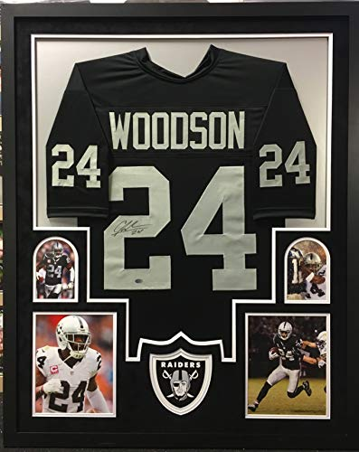 (Charles Woodson Oakland Raiders Autograph Signed Custom Framed Black Jersey Suede Matted GTSM Certified)