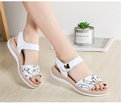 1803 Sandales Cuir Véritable Ouverte Chaussures Lumino Sandales Sandales Dames Chaussures White Plates En Toe Blanc Femmes Femme Sandales a45qR