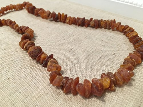 Arthritis Carpal Tunnel Necklace - 20 Inch Raw UnPolished Cognac Baltic Amber Adult Certified authentic Swelling, sciatica, headache migraine, back ache