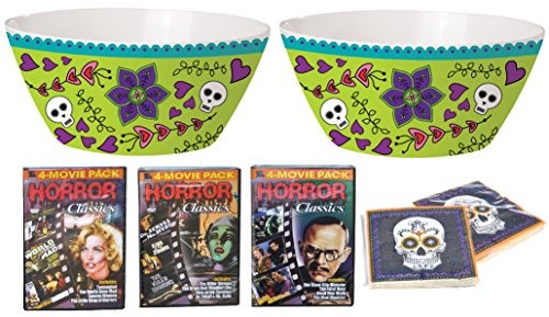 [Party Pack Movie Night Popcorn Bowl Set Day of the Dead Melamine Serving Dish Bowl with Napkins and Horror] (Mens Halloween Costume Ideas Last Minutes)