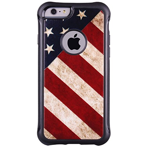 True Color Case Compatible with iPhone 6s Case, Patriotic Vintage American Flag Printed Impact Resistant TPU Protective Anti-slip Grip Snap-On Soft Rugged Cover by TrueColor (Image #1)