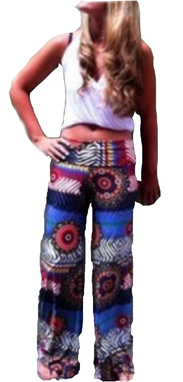 XTX Women's Smocked Waist Fashion Floral Print Loose Pants
