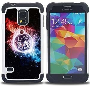 """SAMSUNG Galaxy S5 V / i9600 / SM-G900 - 3 en 1 impreso colorido de Altas Prestaciones PC Funda chaqueta Negro cubierta gel silicona suave (Espacio Galaxy"""")"""