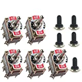 E Support™ Momentary Car Univeral Heavy Duty 20A 125V DPDT 6 Terminal ON/OFF/ON Rocker Toggle Switch Metal Knob Cover Cap Waterproof Pack of 5