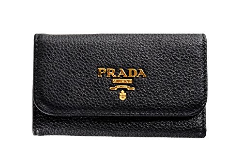 PRADA 1PG222 2E3A F0002 VITELLO GRAIN Leather key ring Nero (Black)