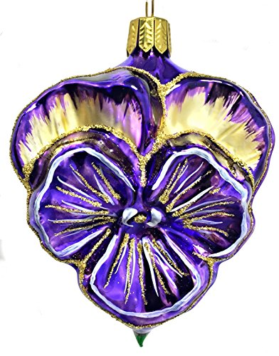 Purple and Gold Pansy Flower German Glass Christmas Tree Ornament Decoration