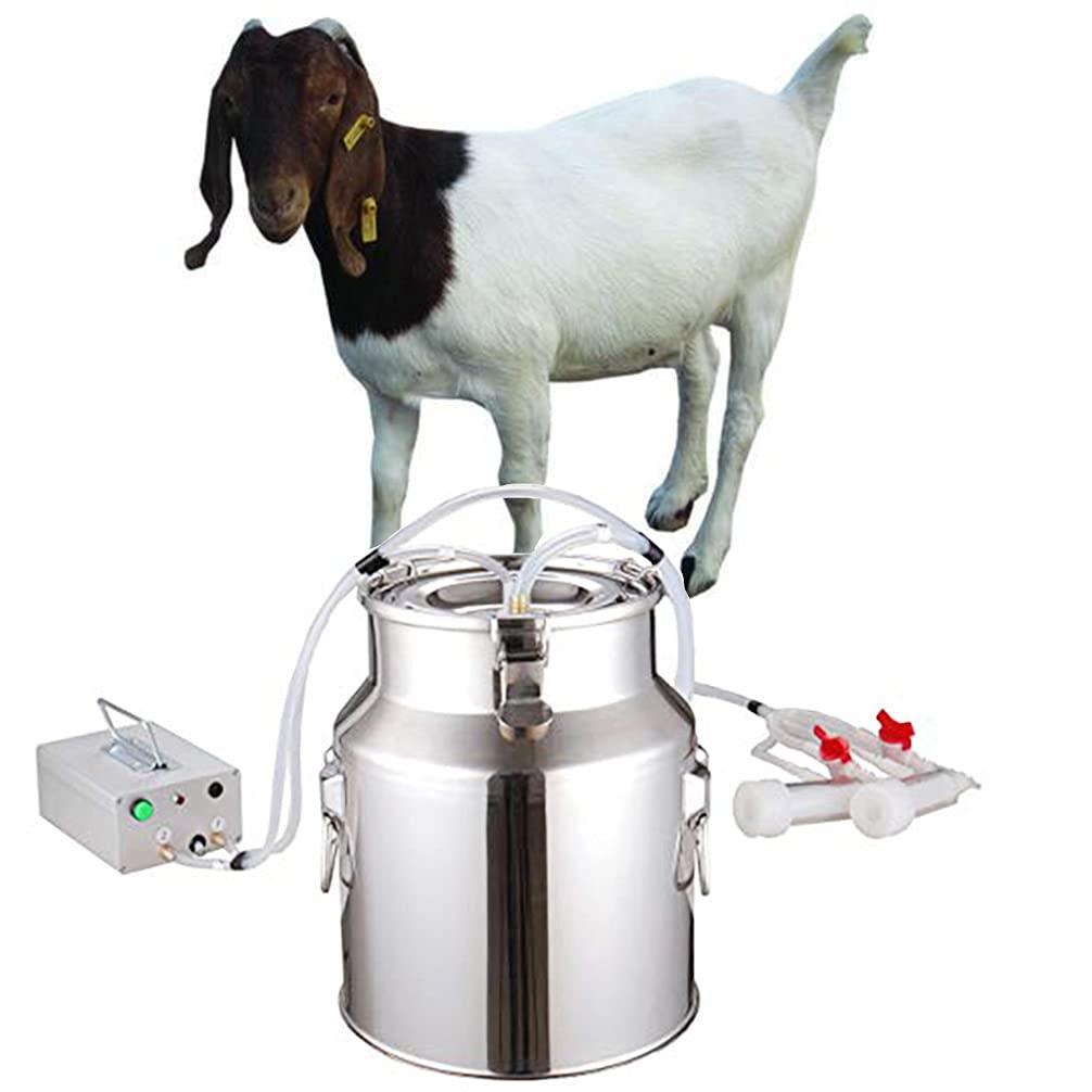 Goat Milking Machine (8 Gifts),Pulsation Vacuum Pump Goat Milker,Food-Grade Automatic 14L Milking Machine for Goats Jerseys,Nigerian Dwarfs,Nubian Mix,US Standard.(14L, Goats)