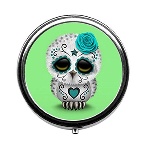 Pill Classic (Cute Teal Day of the Dead Sugar Skull Owl Green Custom Classic Round Pill Box Pill Case Medicine Organizers or Purse by Doyoom Design)
