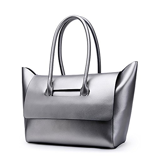 Mn&Sue Urban Style Solid Color Pearl Genuine Leather Tote Shoulder Handbag for Women Lady Purse (Silver)