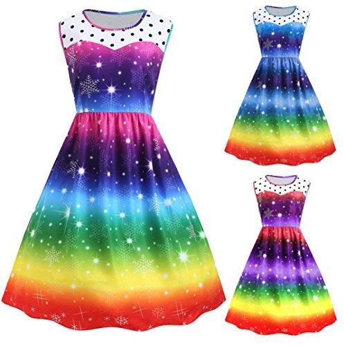Magie Aurora Rock Schneeflocke Sterne Regenbogen Schaukel Kleid ...