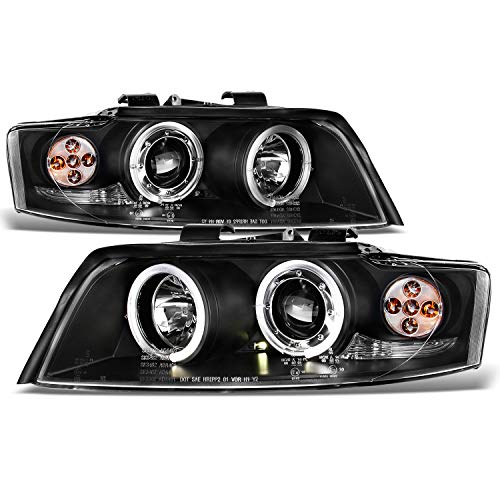 For 2002-2005 Audi A4 Quattro /S4 Sport Sedan Black Bezel 1pc Design Halo Ring Projector Headlights w/Corner Signal - A4 Headlight Assembly Audi