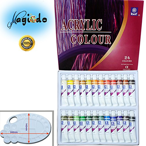 Magicdo® 24 Cols Acrylic Paint Set with paint tray palette Paints for Painting Canvas, Wood, Clay, Fabric, Nail Art, Ceramic & Crafts, 12ml Heavy , Rich Pigment, Quality Non Toxic Paint (24*12ml) (Cardboard Tube Halloween Crafts)