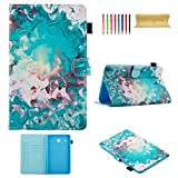 Uliking Galaxy Tab E 8.0 Case, PU Leather TPU Folio Case Multi-Angle Stand Shell with Cards/Stylus Slot [Auto Wake/Sleep] Cover for Samsung Galaxy Tab E 8.0 SM-T377V/T377A, Green Watercolor Ripples