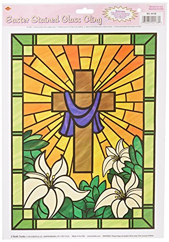 Easter Stained Glass Cling Party Accessory (1 count) (1/Sh) (Easter Window Decoration)