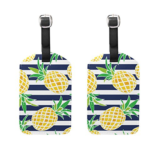 ALAZA Summer Fruit Pineapple Luggage Tags Travel Bag Tag Suitcase Labels 2pcs by ALAZA