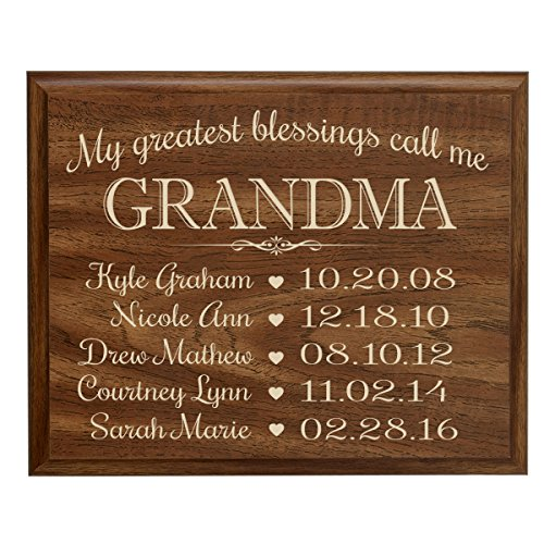 or Grandma with Family Established Year plaque with children's names and birth date dates to remember My Greatest blessings call me Grandma by Dayspring Milestones (9x12, Walnut) (Established Date Plaque)